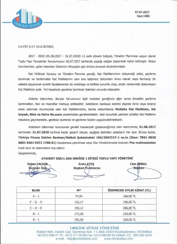 2017 - 2018 DÖNEMİ İŞLETME BÜTÇESİ - Haber , Duyuru - Atakent Orkide Sitesi