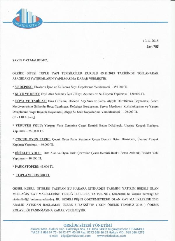 2015 / 2016 Yatırım Bütçemiz Bilgilendirme - Projeler - Atakent Orkide Sitesi
