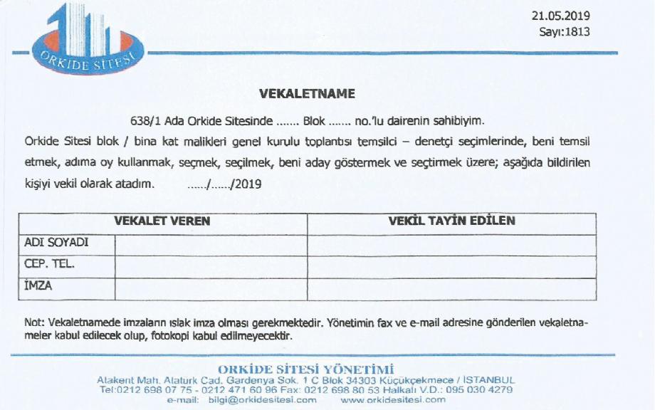 2019 BLOK TEMSİLCİ VE DENETÇİ SEÇİMLERİ - Haber , Duyuru - Atakent Orkide Sitesi