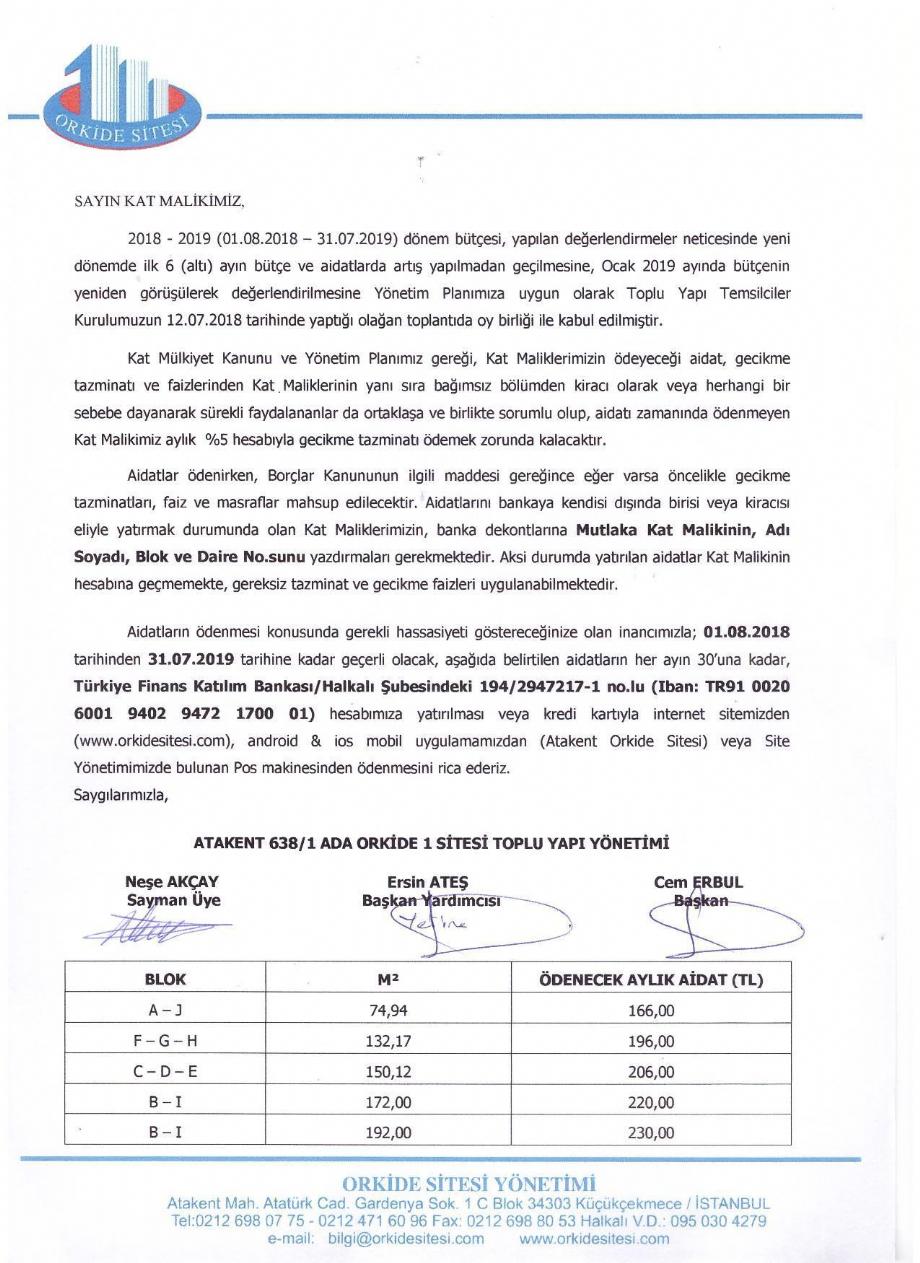2018 - 2019 DÖNEMİ İŞLETME BÜTÇESİ  - Haber , Duyuru - Atakent Orkide Sitesi